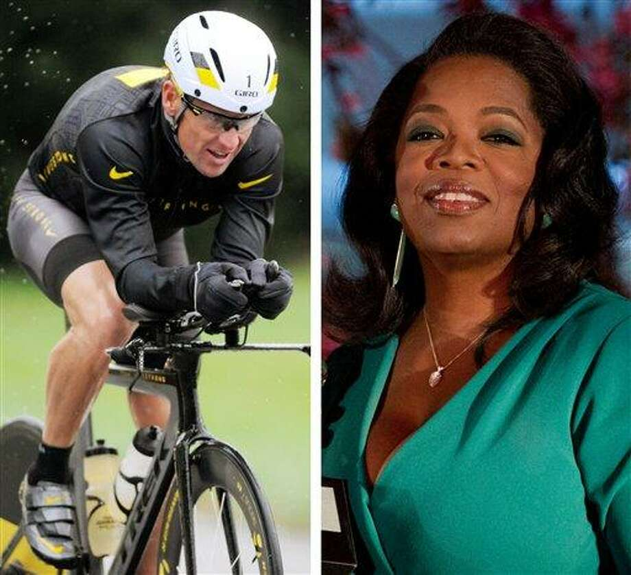 This combination image made of file photos shows Lance Armstrong, left, on Oct. 7, 2012, and Oprah Winfrey, right, on March 9, 2012. Armstrong plans to admit to doping throughout his career during an upcoming interview with Oprah Winfrey, USA Today reported late Friday, Jan. 11, 2013. AP Photos Photo: ASSOCIATED PRESS / AP2013