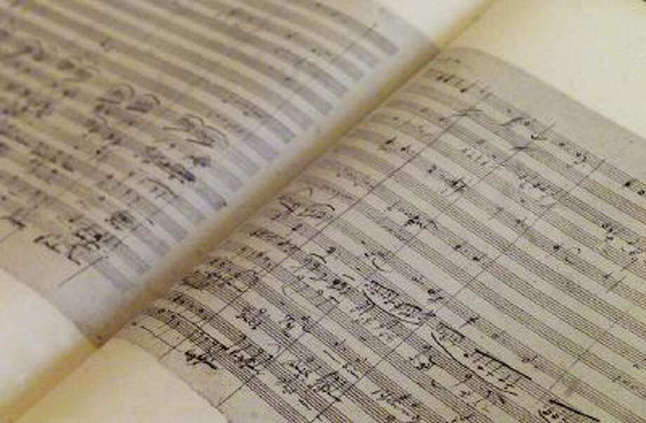 A printed facsimile of the original version of Ludwig van Beethoven's Ninth Symphony, is seen in the National Library in Berlin Jan. 10, 2003.