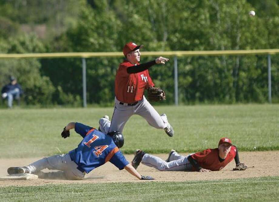 """Dispatch Staff Photo by JOHN HAEGER  <a href=""""http://twitter.com/oneidaphoto"""">twitter.com/oneidaphoto</a> Oneida's Drew Mallinder (14) slides safely into to second as VVS' Alex Saville (11) makes the throw to first for the out in the top of the second inning of play  on Thursday, May 17, 2012 in Verona"""