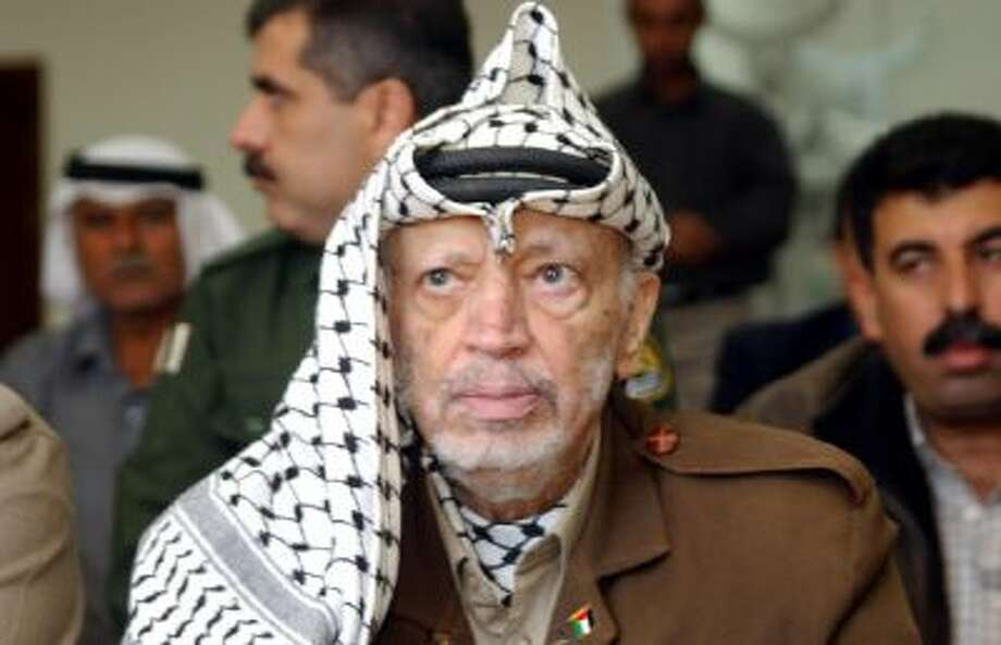 Former Palestinian leader Yasser Arafat is shown in 2003.