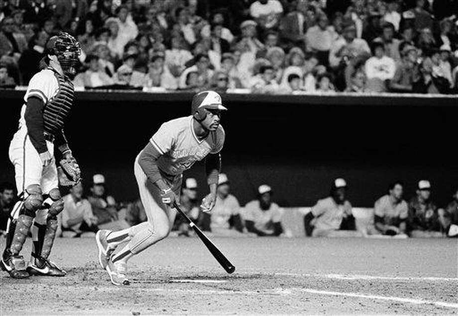 Toronto Blue Jays pinch hitter Al Oliver drops his bat as he watches his game winning double in the ninth inning AL playoff game with the Royals, Saturday, Oct. 12, 1985, Kansas City, Mo. Olivers hit scored two runs to give the Jays a 3-1 win. (AP Photo/Rusty Kennedy) Photo: ASSOCIATED PRESS / AP1985