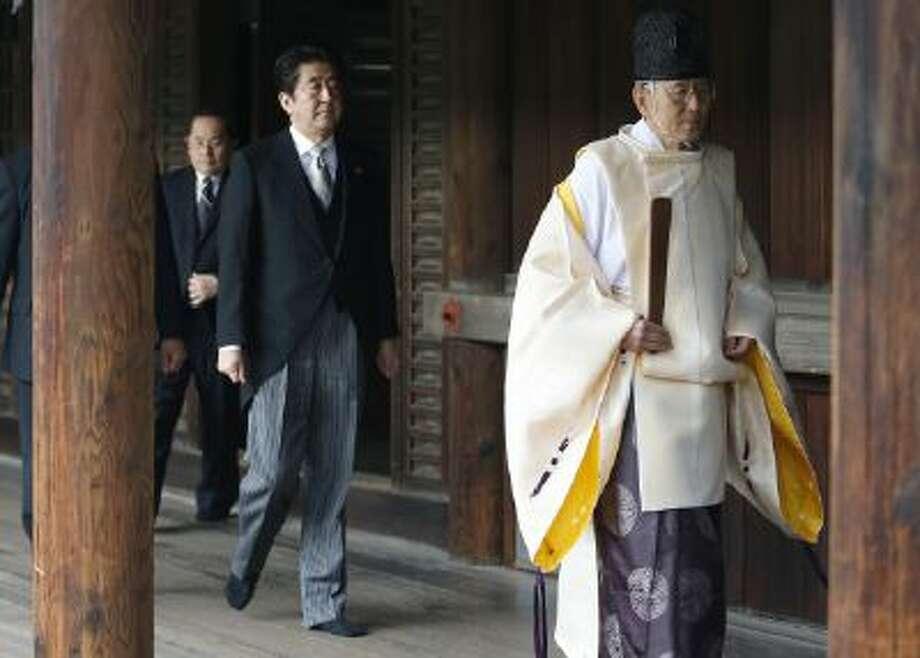Shinzo Abe visits the shrine.