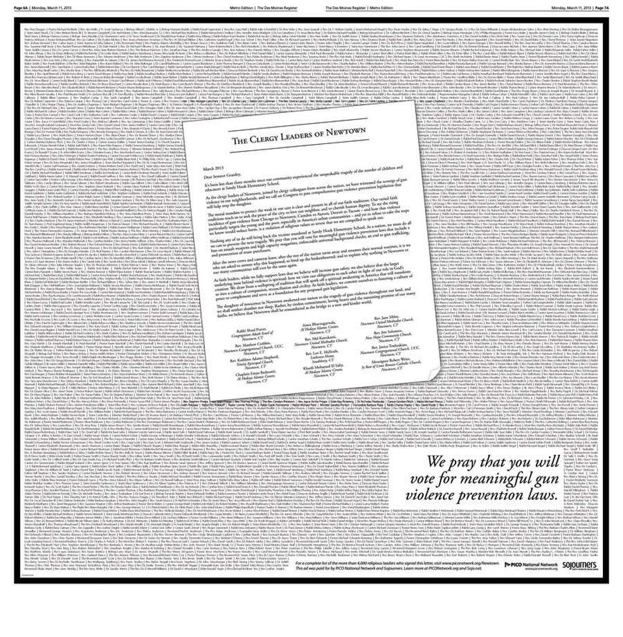 The full-page advertisement that ran Monday in the Des Moines Register.
