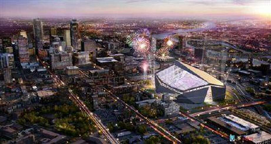 A rendering by the HKS Sports and Entertainment Group of the new Minnesota Vikings stadium. Photo: AP / Minnesota Sports Facilities Auth