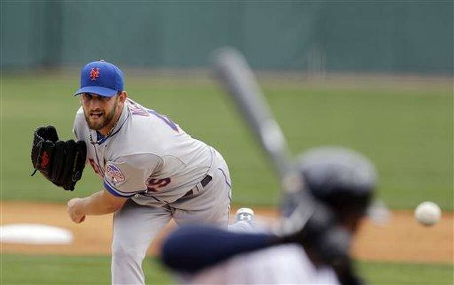 New York Mets starting pitcher Jonathon Niese throws during the first inning of an exhibition spring training baseball game against the Detroit Tigers, Monday, March 11, 2013, in Lakeland, Fla. (AP Photo/Carlos Osorio) Photo: AP / AP