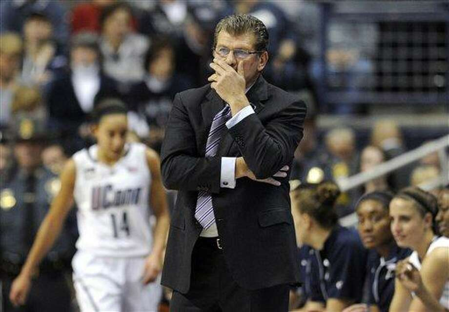 Connecticut head coach Geno Auriemma watches play during the first half of an NCAA college basketball game against Notre Dame in Storrs, Conn., Saturday, Jan. 5, 2013. (AP Photo/Jessica Hill) Photo: ASSOCIATED PRESS / A2013