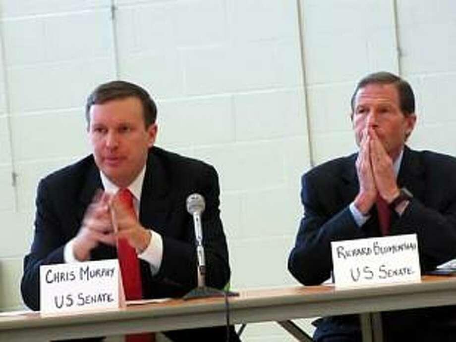 HUGH MCQUAID PHOTO U.S. Sens. Chris Murphy and Richard Blumenthal