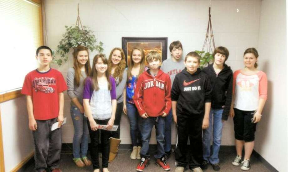 Photo Courtesy Vernon-Verona-Sherrill Middle School Front row, from left, Keagan Ammer, son of Kevin Ammer of Vernon; Grace Brewster, daughter of Mike and Marissa Brewster of Oneida; Jeremy Wright, son of Michael Wright and Kandy Owens of Verona; Brayden Marchand, son of Kristine Marchand of Sherrill. Back row, from left, Bailee Vaillancourt, daughter of Gary and Janelle Millson of Verona; Amanda Hicks, daughter of Robert and Brenda Hicks of Sherrill; Katherine Musacchio, daughter of Richard and Pam Musacchio of Sherrill; Seth Adams, son of William and Doreen Adams of Canastota; Ashley Reinersten, daughter of Robert and Gale Reinersten of Sylvan Beach; and Marisa Sinclair, daughter of Asher and Melissa Sinclair of Sherrill. Absent from photo: Damin Martinez, son of Diana Smith of Verona.