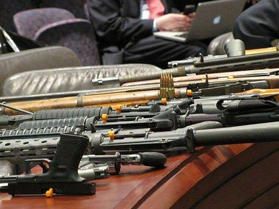 Gun display by the Connecticut State Police. CT NewsJunkie file photo