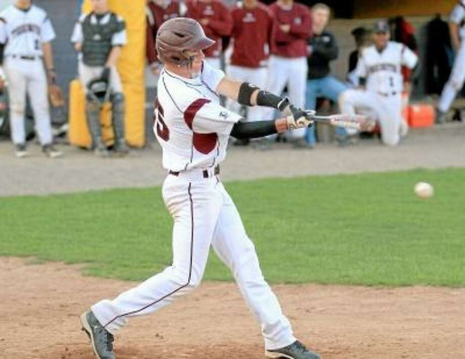 Torrington's John McCarthy connects for a single. Marianne Killackey/Special to Register Citizen / 2013