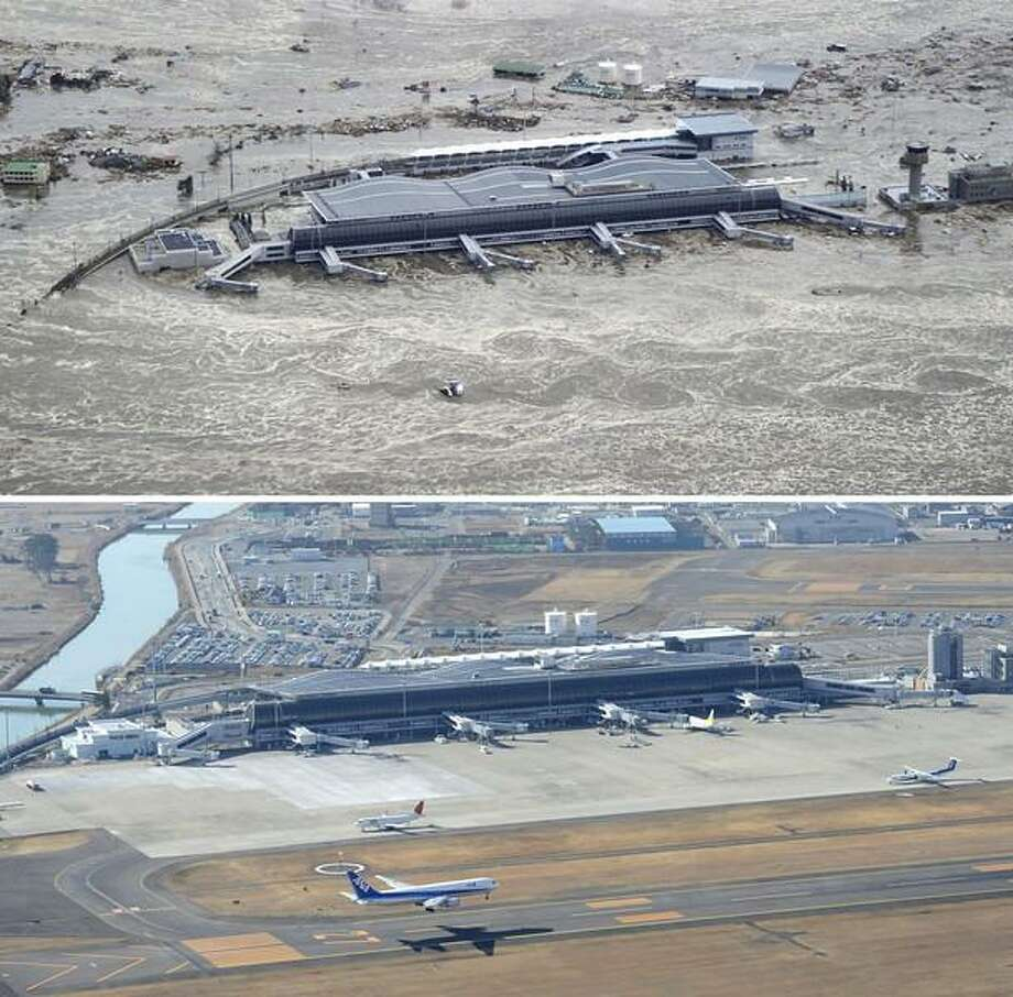This combination photo taken March 11, 2011, top, and Monday, March 4, 2013 shows an aerial view of Sendai Airport in Natori, Miyagi prefecture. The airport resumed operation only about one month after the tsunami and functioned as the major base of the rescue operation. March 11, 2013 is the 2-year anniversary of the earthquake and tsunami which devastated the northeastern Pacific coast of Japan. (AP Photo/Kyodo News) Photo: AP / Kyodo News