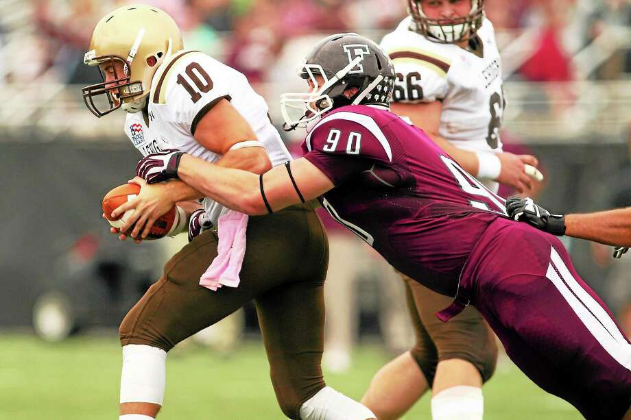 Photo courtesy of Fordham Athletics  Sheehan grad Brett Biestek has gone from high school quarterback to college defensive lineman for the eighth-ranked team in the nation. Photo: Journal Register Co.