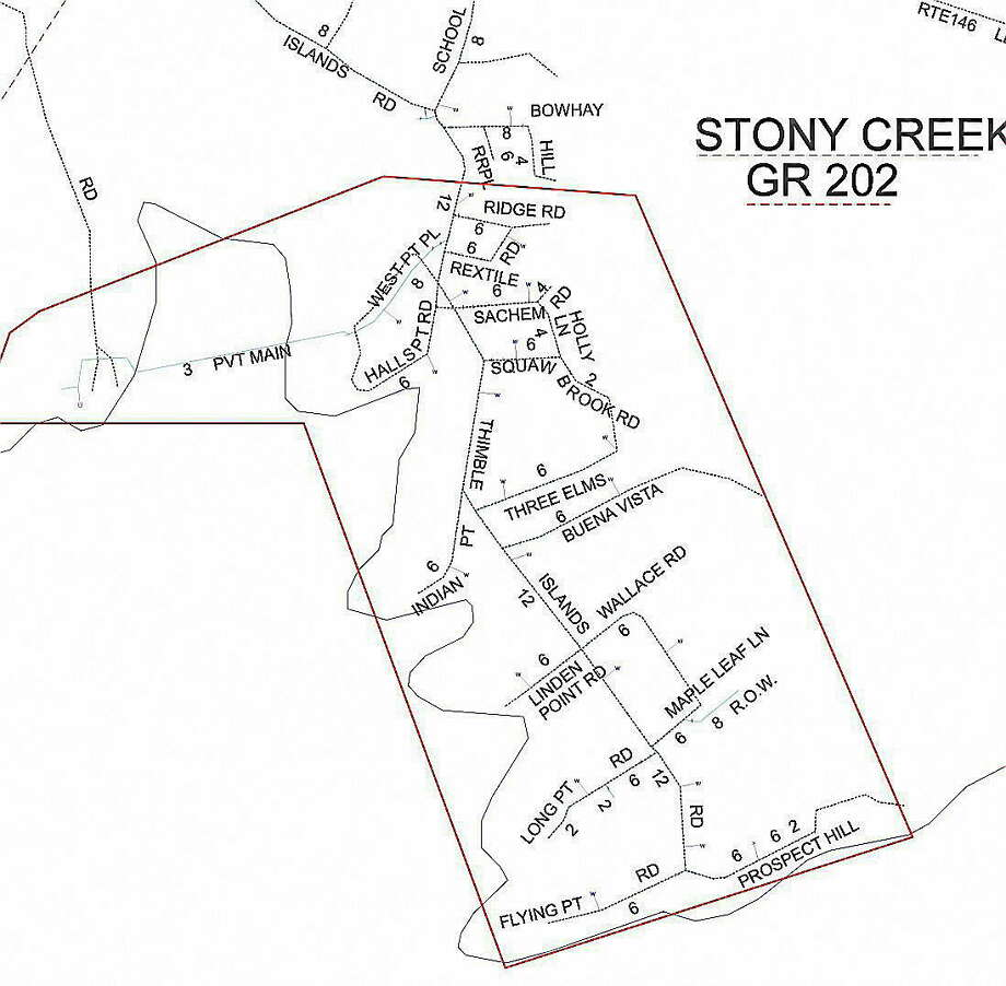 The area outlined in red is the area that is affected by the water main break. Map courtesy of South Central Connecticut Regional Water Authority Photo: Journal Register Co.