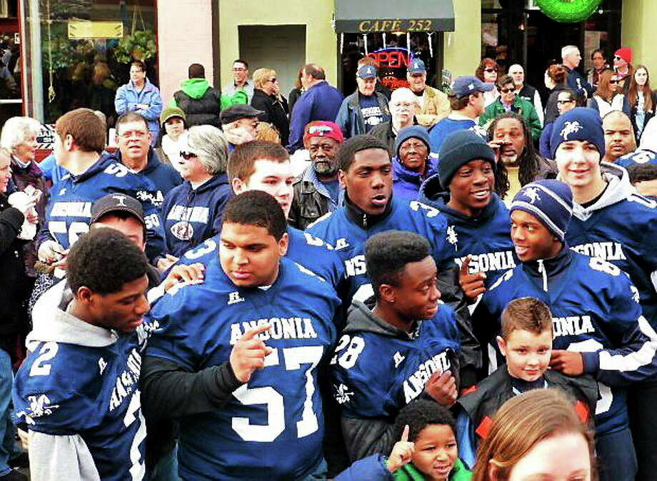 "Ansonia athletes gather at ""Parade of Champions"" Saturday. Photo: PATRICIA VILLERS — NEW HAVEN REGISTER"