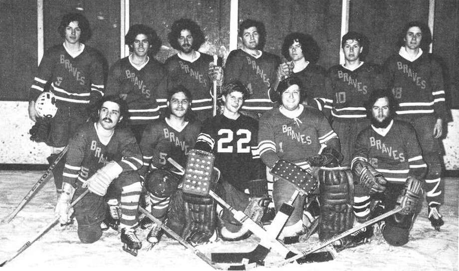 The 1970-71 Quinnipiac men's hockey team. Front row, from left, are Ken Knowles, Kris Carlson, Kent Allyn, Bob Salmon and Tom Karp. Back row, from left, are Glenn Wojtech, Lee Max, Mike Patlin, Tom DeMartino, Tom Gleason, Tom Silengo and Bill Dungan. (Submitted photo)