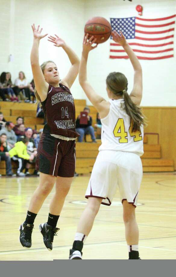 "Dispatch Staff Photo by JOHN HAEGER <a href=""http://twitter.com/oneidaphoto"">twitter.com/oneidaphoto</a> Canastota's Allyson Malbouf (44) looks to pass as she is pressured by Sherburne-Earlville's Savannah Irwin (14) in the first half of their game on Wednesday, Jan. 9, 2013 in Canastota. S-E won 51-46."