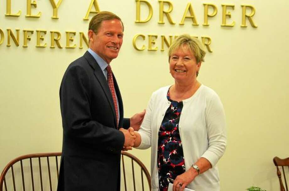 U.S. Sen. Richard Blumenthal with NCCC president Barbara Douglas. (Mercy Quaye - Register Citizen)