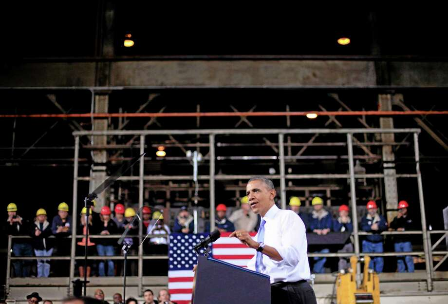 In this Nov. 14 file photo, President Barack Obama speaks at ArcelorMittal, a steel mill in Cleveland. The Commerce Department releases final third-quarter gross domestic product on Friday. Photo: THE ASSOCIATED PRESS   / AP