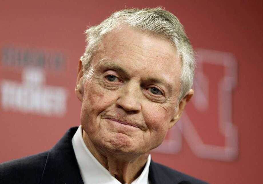 In this Sept. 26, 2012 file photo, Nebraska athletic director Tom Osborne announces his retirement as of Jan. 1, 2013, during a news conference in Lincoln, Neb. Osborne's retirement ends an association with the university that began in 1962. Osborne will receive the Walter Camp Foundation's Distinguished American Award on Saturday at Yale. Photo: AP / 020122012