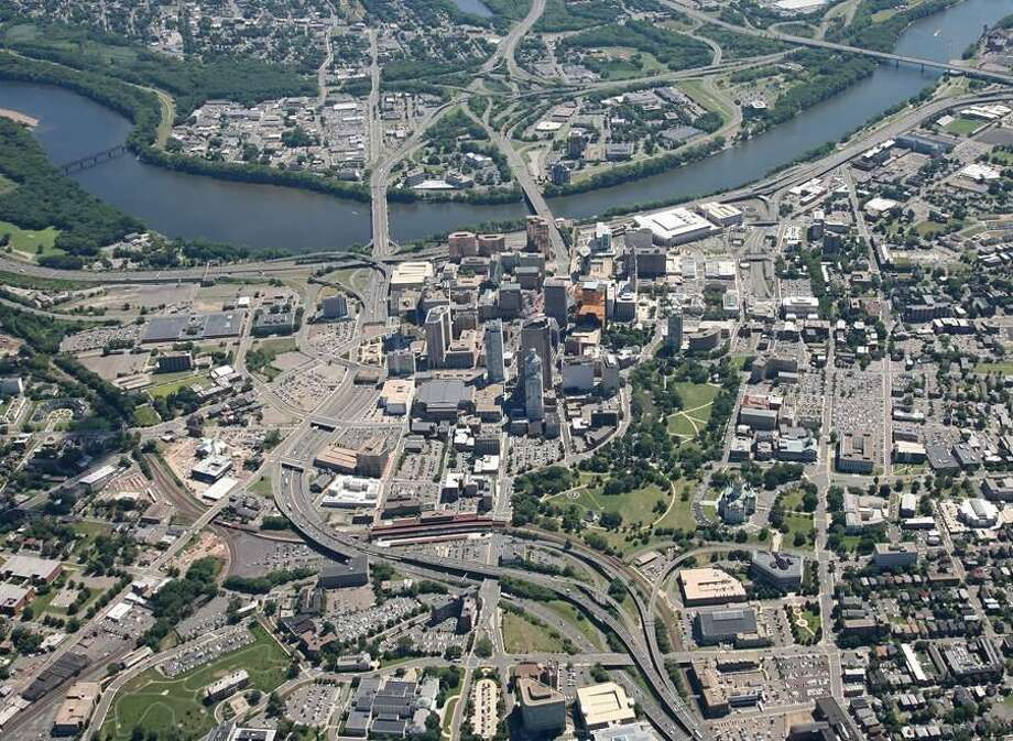An aerial view of the Aetna Viaduct, an elevated section of I-84 in Hartford, which is nearing the end of its serviceable life. The Department of Transportation classifies the viaduct's replacement as 'unfundable.' (Photo courtesy of the DOT)