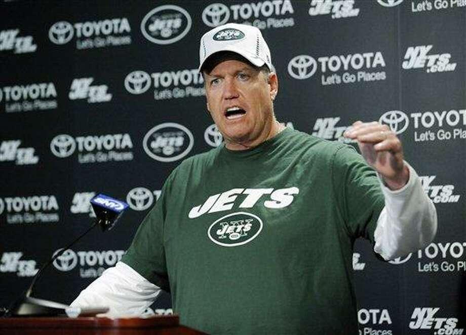 New York Jets coach Rex Ryan talks to the media during NFL football rookie minicamp Friday, May 10, 2013, in Florham Park, N.J. (AP Photo/Bill Kostroun) Photo: AP / FR51951 AP