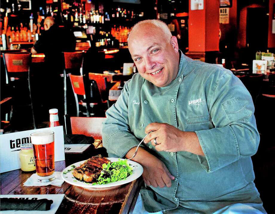 Chef Tony Merchitto of Temple Grill in New Haven shows the dish requested by Patricia Nester of North Haven. Photo: Melanie Stengel — New Haven Register