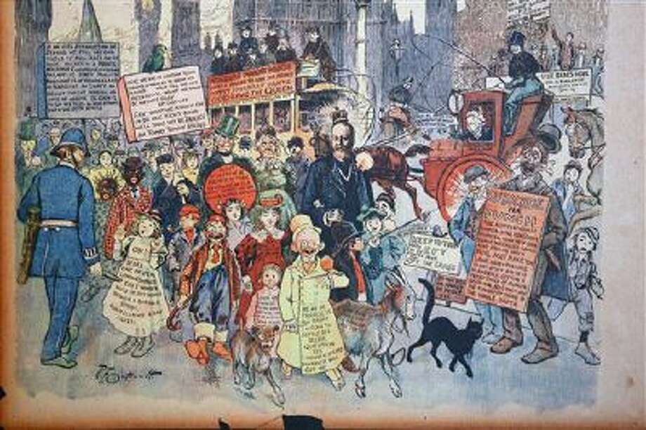 Detail of a drawing by American comics artist Richard Felton Outcault: The Yellow Kid, made for the New-York Journal presented as part of an exhibition on Comics and Immigration at the Museum of the History of Immigration in Paris, Monday Oct. 14, 2013. The exhibition takes place from Oct. 16 to April 27, 2014. Photo: AP / AP