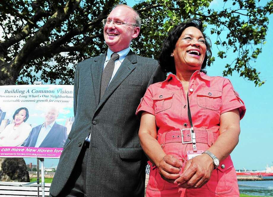 Arnold Gold — Register ¬ Matthew Nemerson (left) dropped out of the New Haven mayoral race and endorsed State Senator Toni Harp (right) on Long Wharf Drive in New Haven on 6/24/2013. Photo: Journal Register Co.