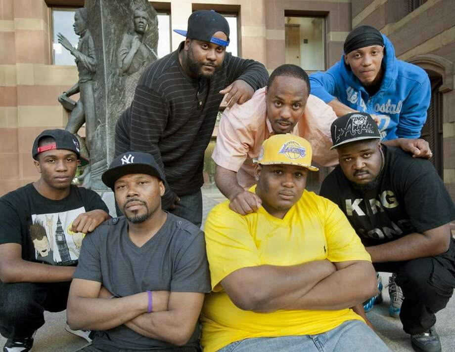 New Haven-Coalition Hip Hop group is traveling to San Quinten State Prison to perfprmnat the prison's Day of Peace event.   Melanie Stengel/Register