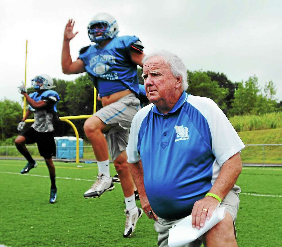 West Haven's Ed McCarthy is six wins away from becoming the winningest coach in Connecticut high school football history. Photo: Peter Casolino — Register