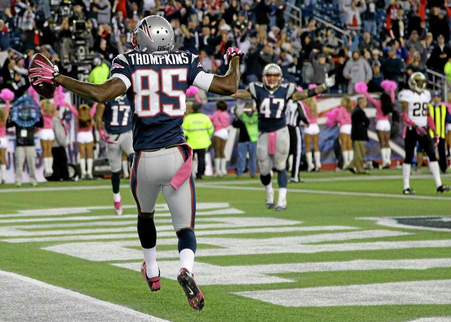 Patriots wide receiver Kenbrell Thompkins (85) celebrates his winning touchdown catch against the Saints on Sunday. Photo: Stephan Savoia — The Associated Press   / AP