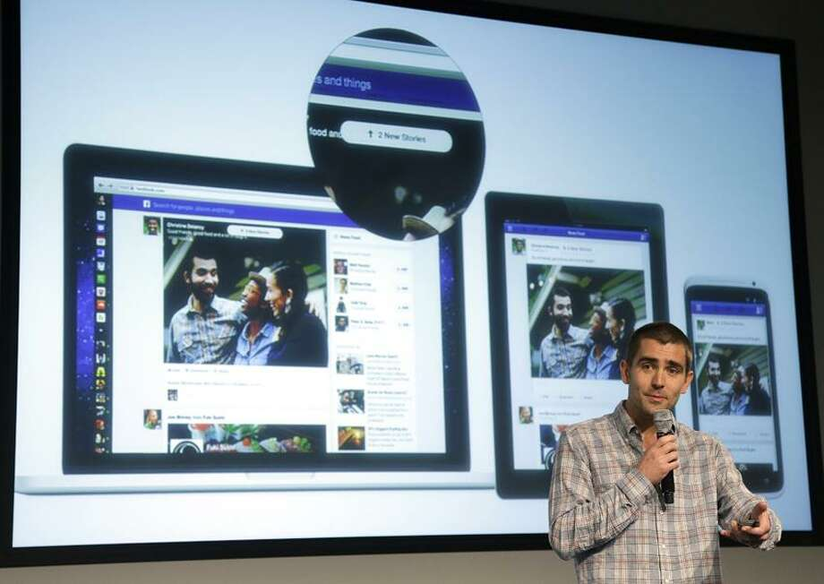 Facebook vice president of product Chris Cox speaks at Facebook headquarters in Menlo Park, Calif., Thursday, March 7, 2013. (AP Photo/Jeff Chiu) Photo: AP / AP
