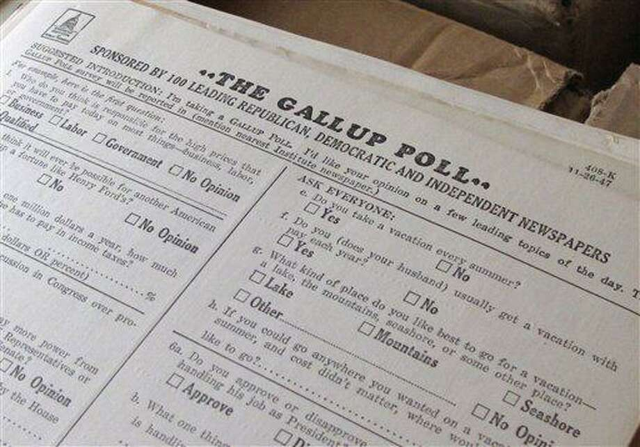 This Dec. 11, 2012 photo shows a 1947 survey for the Gallup Poll at the University of Iowa library in Iowa City, Iowa. The document is part of the personal papers of the late George Gallup Sr., founder of the Gallup Poll, that have been donated to the University of Iowa, his alma mater, providing the public with an intimate glimpse into the development of nationwide public opinion polling. (AP Photo/Ryan J. Foley) Photo: ASSOCIATED PRESS / AP2010