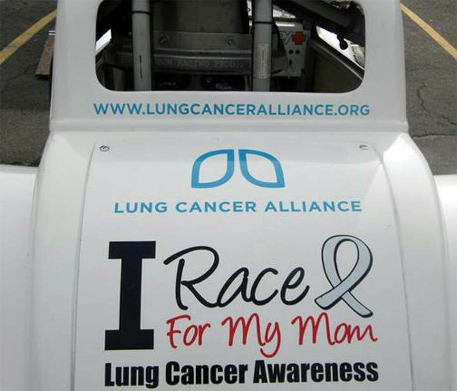"""Submitted photo Nicholas Sowa's race car, featuring the words 'I race for my mom."""""""
