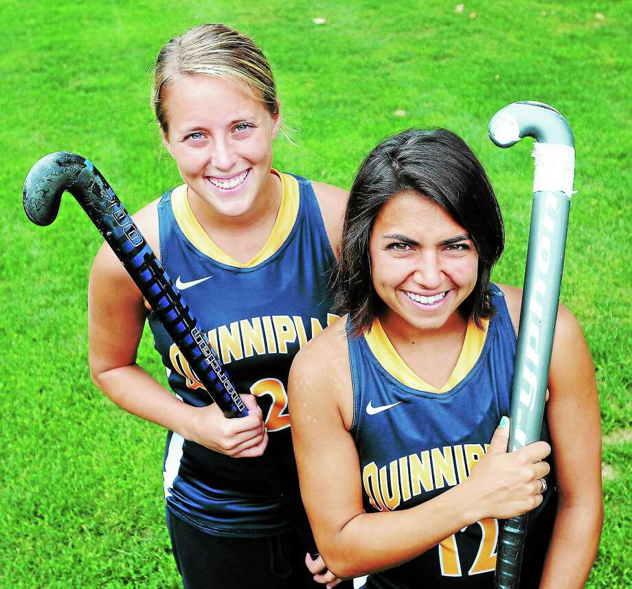 The Quinnipiac University field hockey team will rely heavily on captains Jess Rusin, left,and Christa Romano. Photo: Arnold Gold — The Register