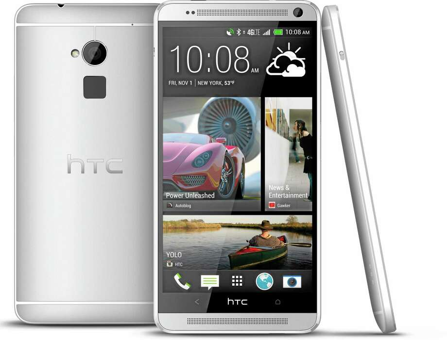 The new HTC One Max phone will have one feature unavailable with the smaller models: a fingerprint identification sensor similar to that on Apple's new iPhone 5S. Photo: Associated Press/HTC Corp.   / HTC Corp.