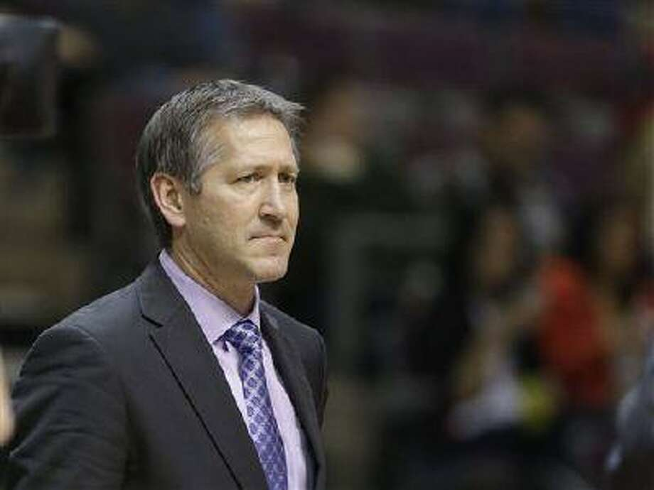 Utah Jazz assistant coach Jeff Hornacek is seen on the sidelines during the second half of an NBA game against the Detroit Pistons at the Palace of Auburn Hills, Mich., Jan. 12, 2013. Photo: AP / AP