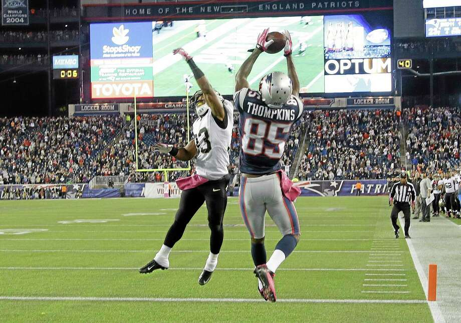 Patriots wide receiver Kenbrell Thompkins catches the winning touchdown pass against Saints on Sunday. Photo: Stephan Savoia — The Associated Press   / AP