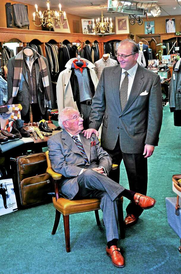 Vincent P. Ferrucci and his son, Vincent F. Ferrucci, owners of Ferrucci Ltd. Fine Men Clothiers on Elm Street in New Haven. Photo: Peter Casolino — New Haven Register