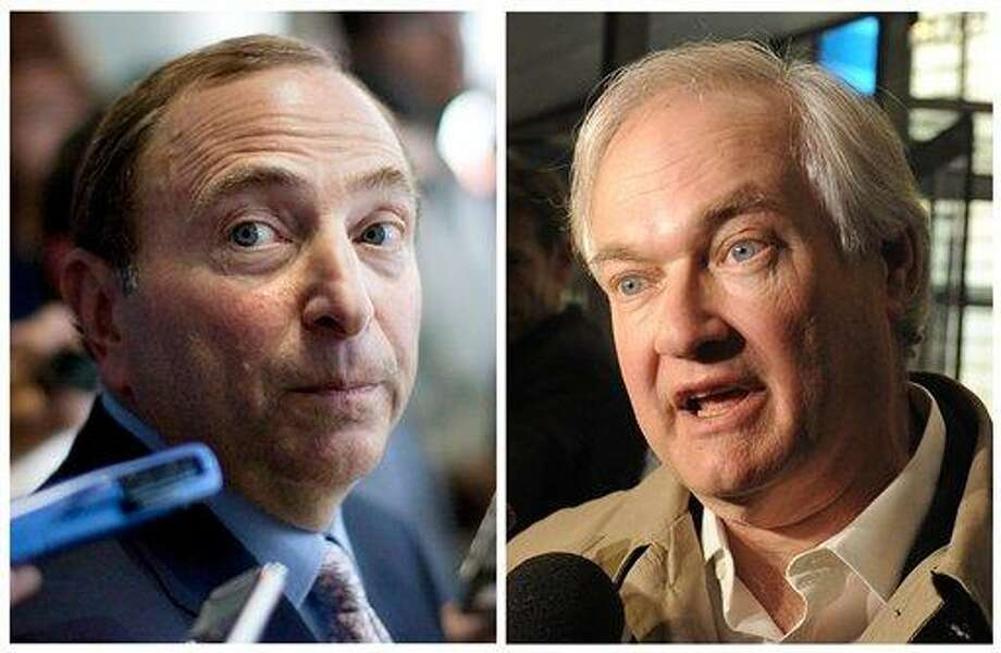 This photo combo shows NHL Commissioner Gary Bettman, left, talking to the media in Toronto, on Thursday, Aug. 23, 2012, and at right is Donald Fehr, executive director of the NHL Players' Association, speaking to the media, Friday, Nov. 9, 2012, in New York. The NHL and the players' association said they reached a tentative agreement early Sunday, Jan. 6, 2013, in New York, to end a nearly four-month-old lockout that threatened to wipe out the season. (AP Photo) Photo: ASSOCIATED PRESS / AP2013