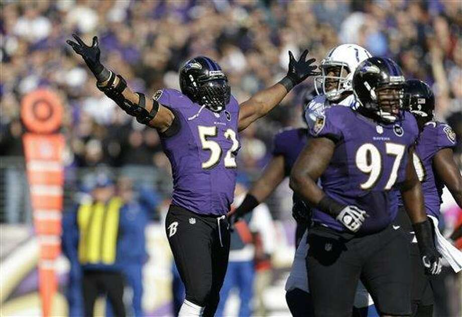 Baltimore Ravens inside linebacker Ray Lewis (52) reacts after making a tackle against the Indianapolis Colts during the first half of an NFL wild card playoff football game Sunday, Jan. 6, 2013, in Baltimore. (AP Photo/Patrick Semansky) Photo: AP / AP