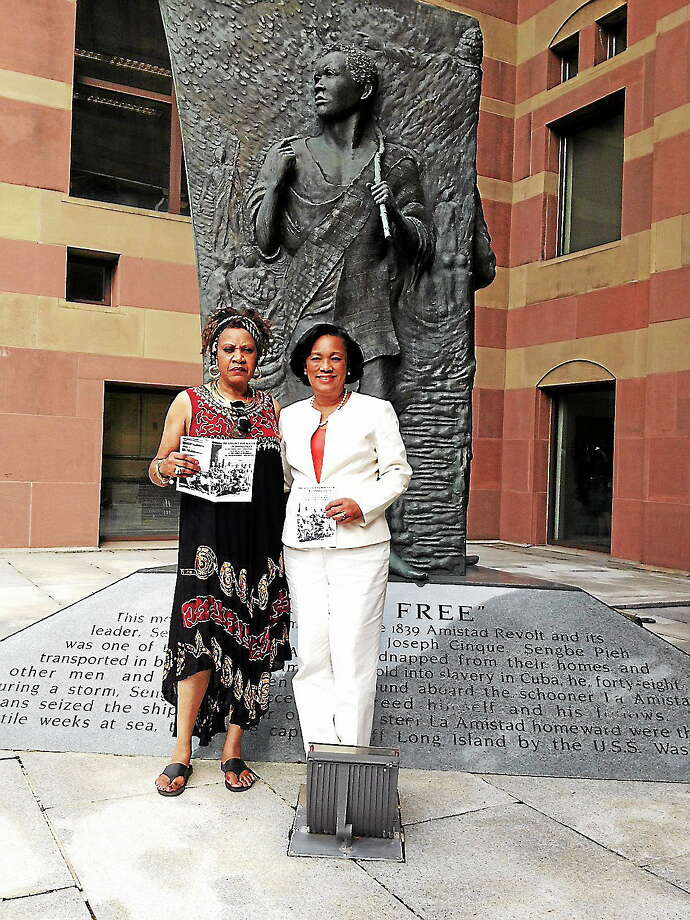 Stella Antley and state Sen. Toni Harp in front of Amistad Memorial in New Haven Photo: Journal Register Co.