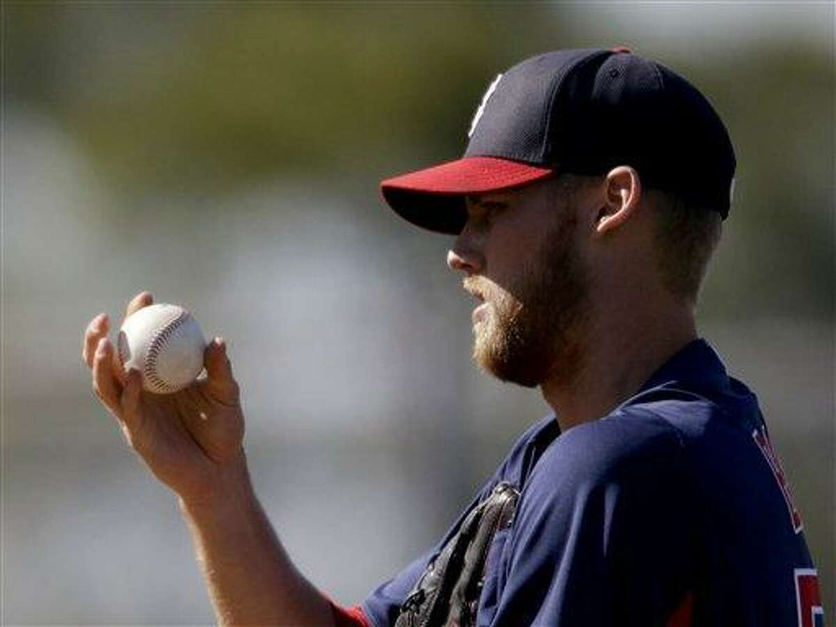 Boston Red Sox pitcher Daniel Bard plays in a spring training exhibition baseball game against the Minnesota Twins, Thursday, March 7, 2013, in Fort Myers, Fla. (AP Photo/David Goldman)