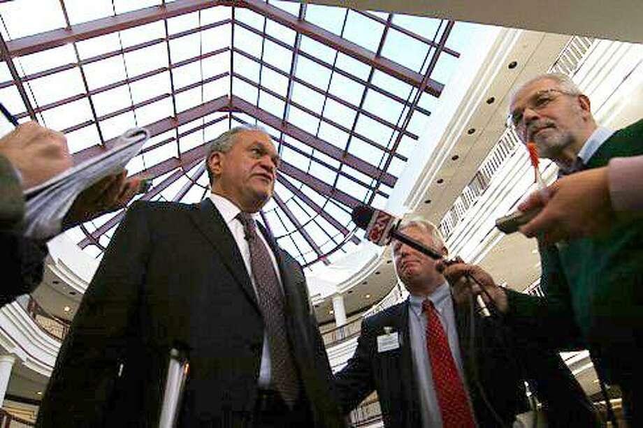 New Haven Mayor John DeStefano met with House Speaker Brendan Sharkey and Sen. President Donald Williams Tuesday. Christine Stuart/CT NewsJunkie