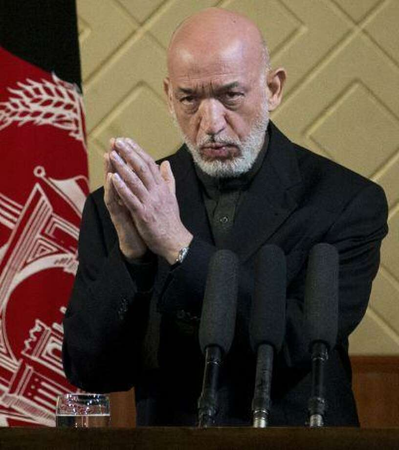 Afghan President Hamid Karzai speaks during a ceremony at Kabul University in Kabul, Afghanistan, May 9. Photo: ASSOCIATED PRESS / AP2013