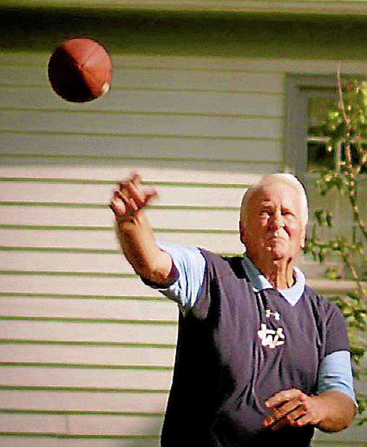 For more than 60 years Lee Krost has been a quarterback. He is still torching defenses at age 74 in the Stamford YMCA flag football league on Sundays. Photo: Submitted Photo