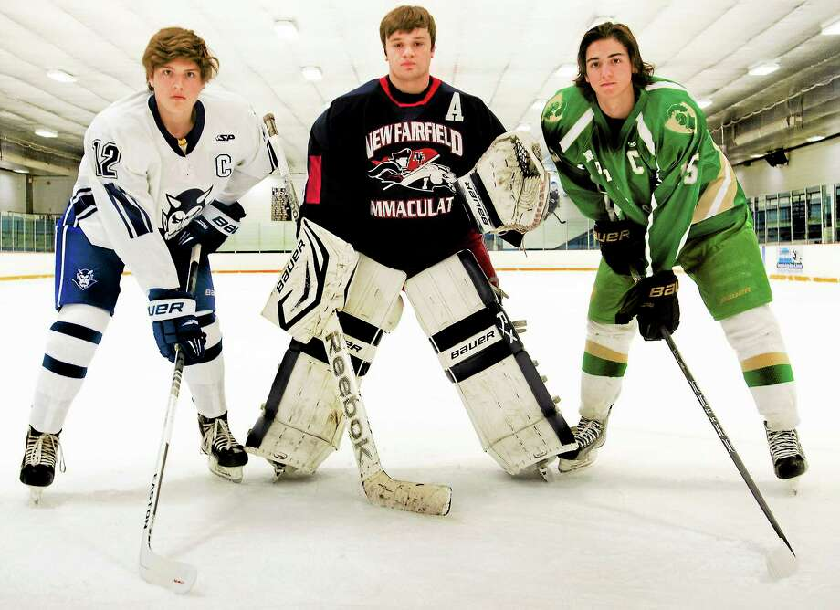 From left. Joe Ayala of West Haven, Matt Dumas of Notre Dame-West Haven and Ryan Dubos of Immaculate/New Fairfield. Photo: Melanie Stengel — Register