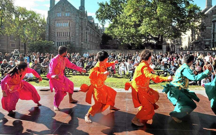 The Yale Jashan Bhangra performs on Cross Campus during Saturday's open house. Photo: Mara Lavitt — New Haven Register   / Mara Lavitt