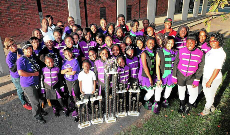 The New Haven Nation Drill Squad and Drum Corps is photographed outside the Elk's Club in New Haven. Photo: Arnold Gold — New Haven Register