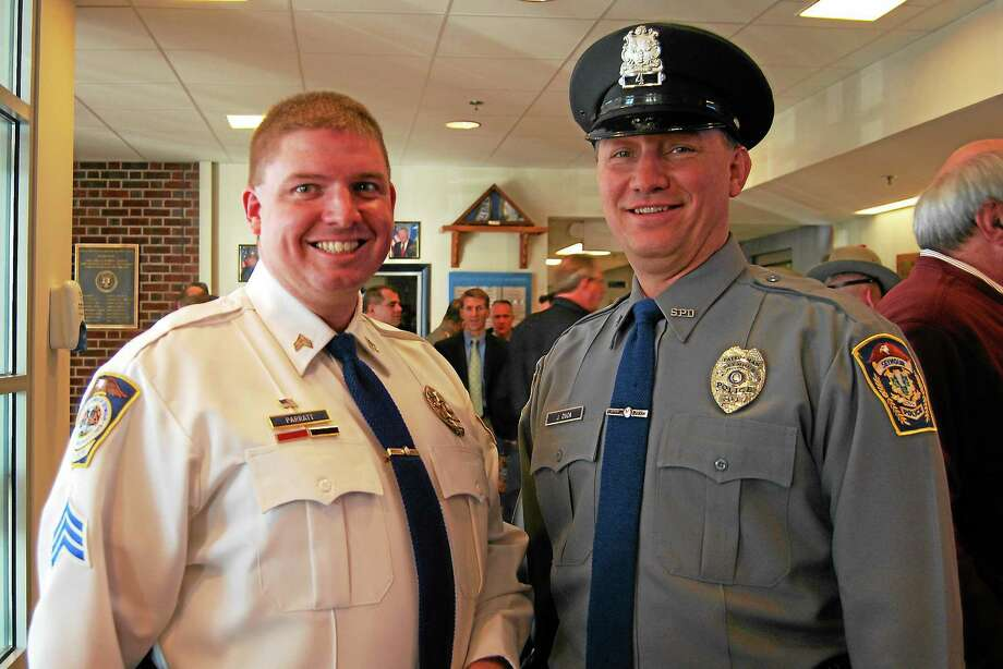 Seymour police Sgt. David Parratt, left, and Officer James Duda were honored for saving a baby's life. Photo: Contributed Photo